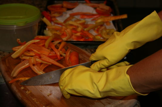 gloves when cutting peppers