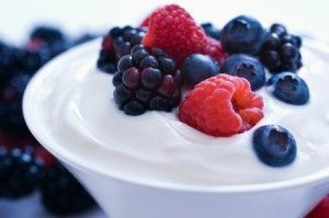 Blueberry & yogurt stock photo