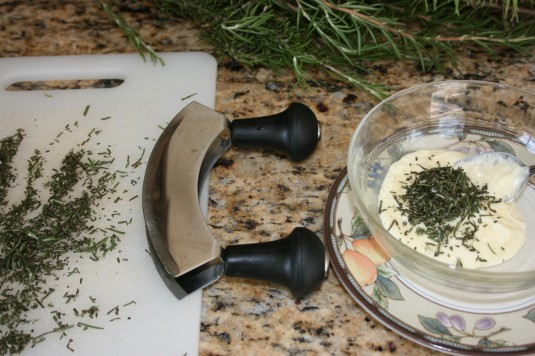 chop rosemary add to butter