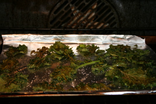 kale chips roasting