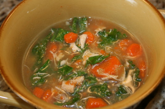 kale in chicken soup