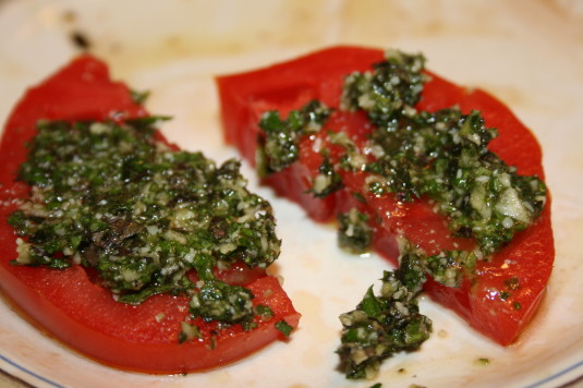 tomatoes and homemade pesto