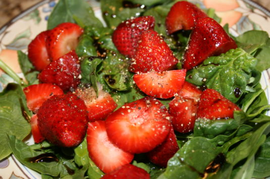 spinach and strawberries
